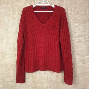 Chaps Red V-Neck Cable Knit Sweater Size XL